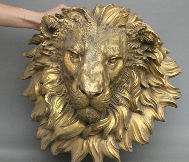 Оптовая продажа фабрики 16 Китайский Латунь Медь Зло Львиная Голова Маска Настенные Семьи Декор Искусство Скульптура