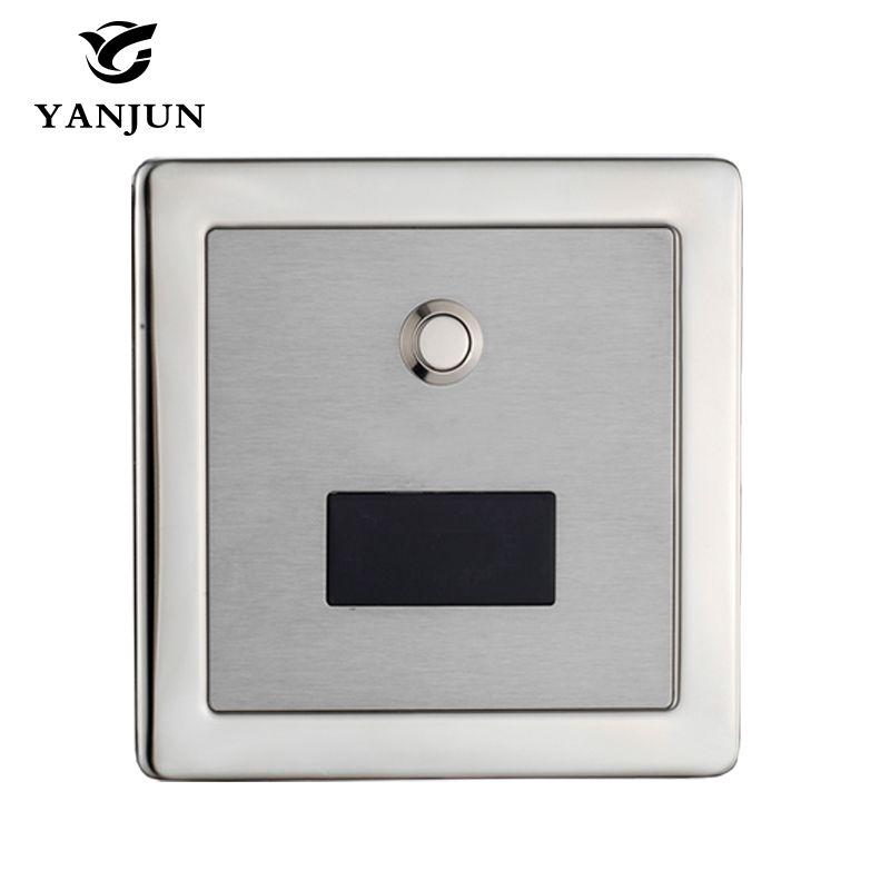 Capteur automatique de Valve de chasse d'eau de toilette d'acier inoxydable de Yanjun et support mural dissimulé carré manuel de 2 fonctions DC6v YJ6350
