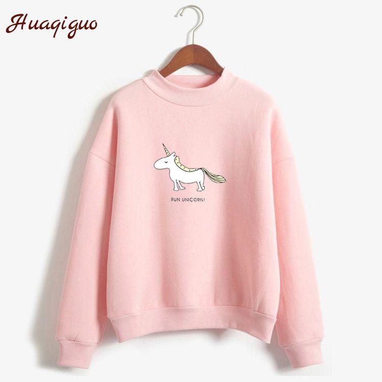 Women Hoodies Female Long Sleeve Fleece Turtleneck Sweatshirt 2017 Autumn Winter Kawaii Unicorn Print Harajuku Casual Pullover