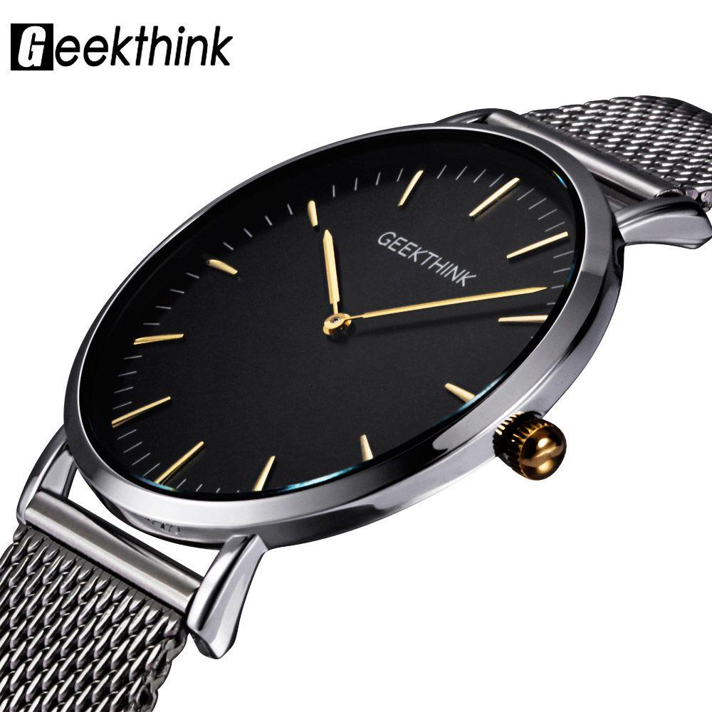 GEEKTHINK Top Luxury Brand Quartz watch <font><b>men</b></font> Casual Japan quartz-watch stainless steel Mesh strap ultra thin clock male New