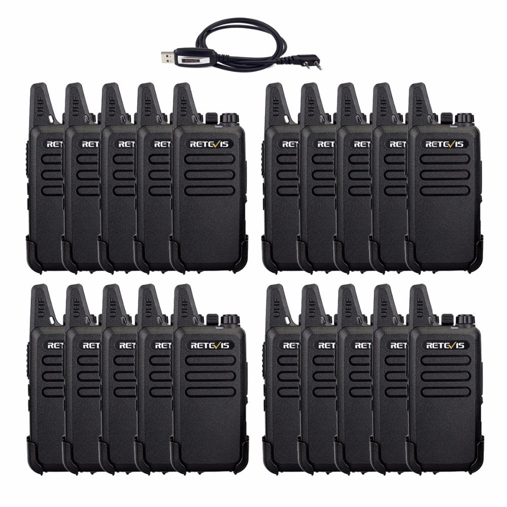 20pcs Cheap Wholesale Retevis RT22 Mini Walkie Talkies Set 2W 16CH UHF VOX Portable cb Radio Hf Transceiver Handy Walkie-Talkie