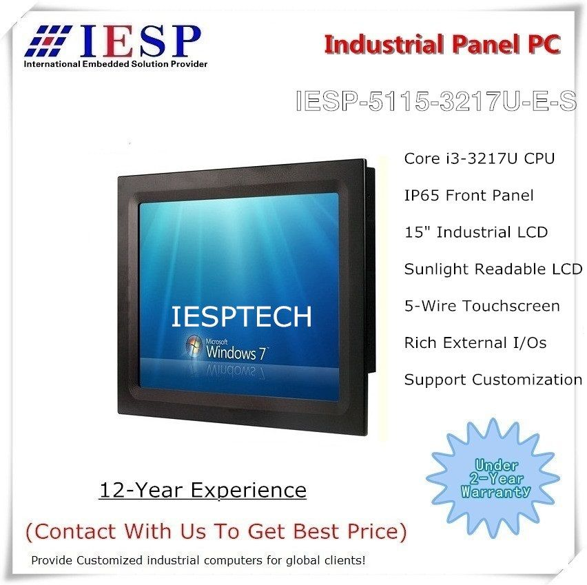 Sonnenlicht Lesbar industrie panel PC, Core i3 CPU, 4 GB DDR3 RAM, 320 GB HDD, 2 * RS232/4 * USB/GLAN, 15 touchscreen panel pc