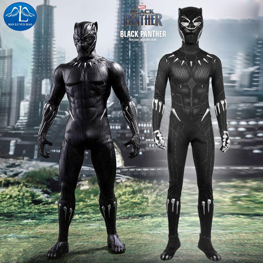 2018 Movie Black Panther Cosplay Costume Men Halloween Costume Black Panther Costume Men Jumpsuit With Mask Custom Made