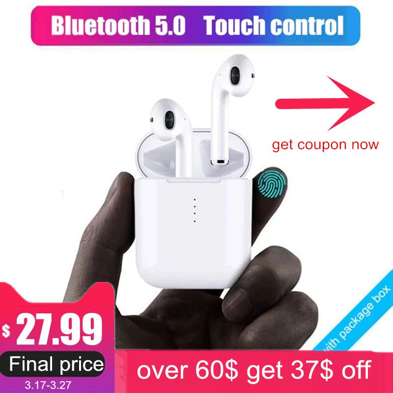 New i10 tws Bluetooth Earphone Wireless earphones Touch control Earbuds 3D Surround Sound & Charging case for all smartphone