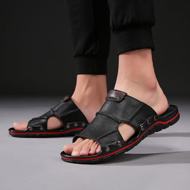 Echtes Leder Männer Hausschuhe outdoor Strand Schuhe Bequem Männer 2019 Sommer Flache Heels Männlichen Rutschen Luxus marke hausschuhe L5