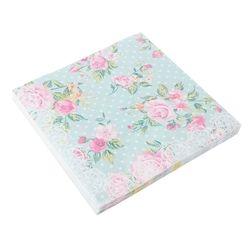 20 pcs rose vert rose imprimé mouchoirs table serviettes en papier découpage cru de mariage de fête d'anniversaire décoration