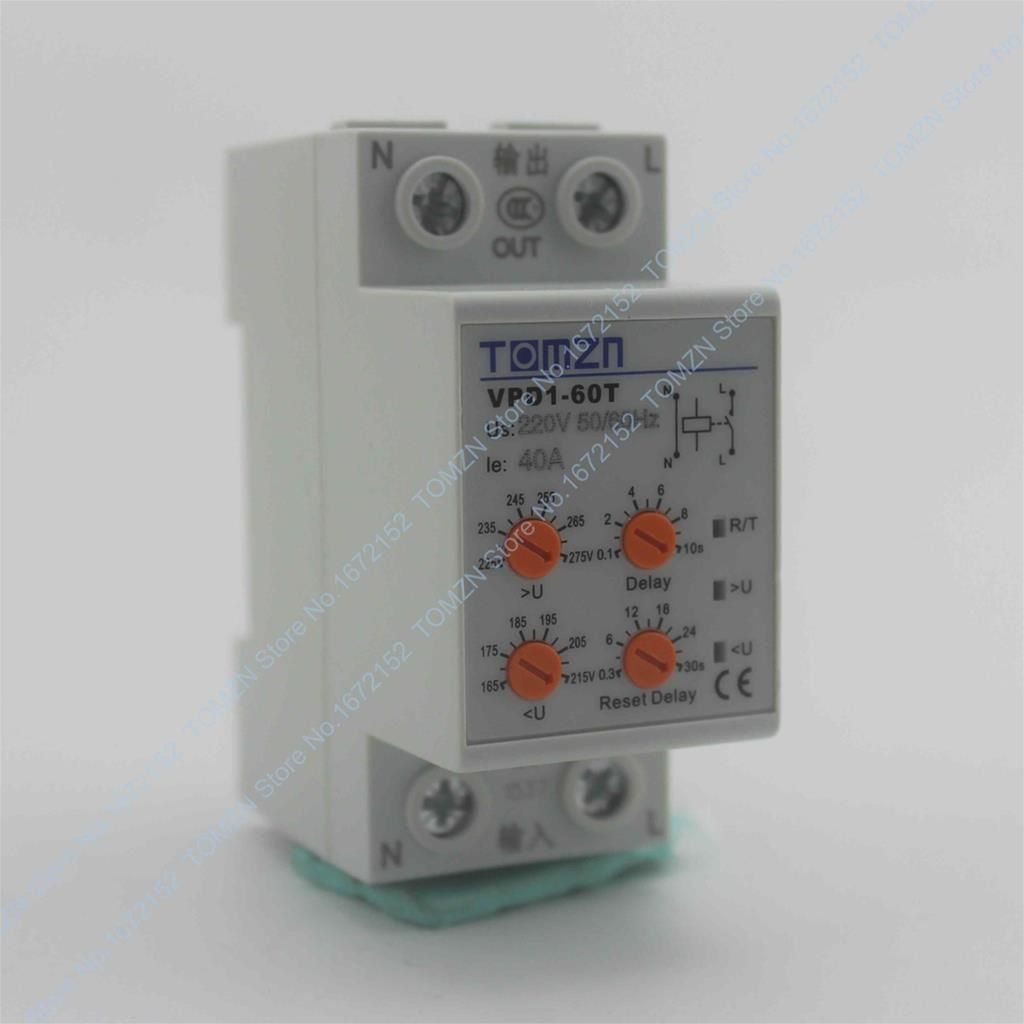 40A 220 V din-schiene automatische verbinden überspannung und unter spannung schutz gerät relais mit einstellbar taste