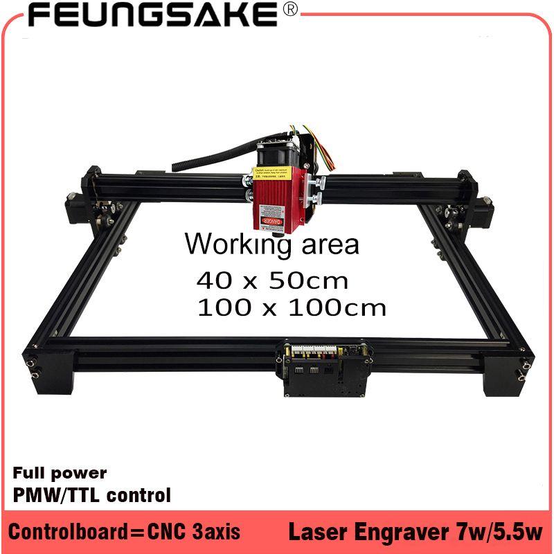 7w laser cutting machine TTL PMW control 1*1m much bigger power than 5.5w/15w laser engraving machine,laser carving machine cnc