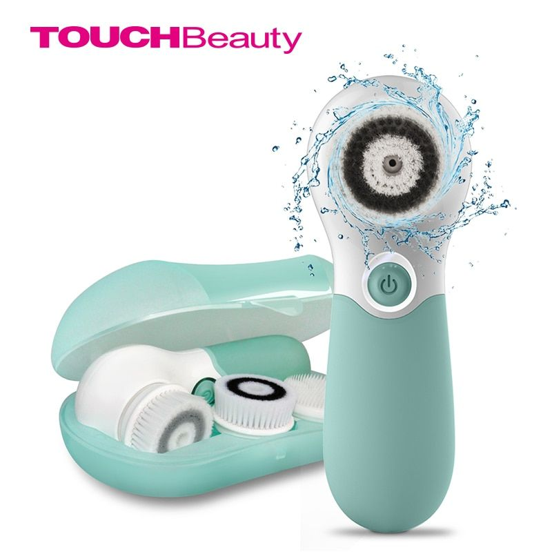 TOUCHBeauty Waterproof Facial Brush Deep Cleansing Set with 3 Different Spin Brush Head,two speed face cleansing device TB-14838