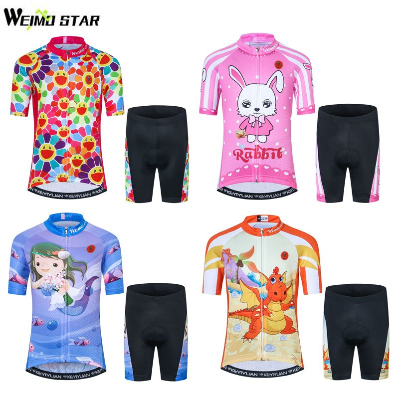 Kids Cycling Clothing Short Sleeve 3D Gel Shorts Suit Childrens Cycling Jersey Set Boy Girl Bike Jersey Bicycle Clothing 9 Style