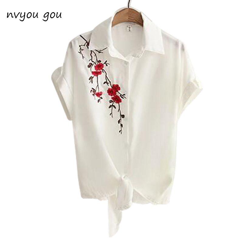2019 Top été décontracté hauts à manches courtes broderie haut blanc Blouses chemises Sexy Kimono lâche plage chemise Blusas Feminina