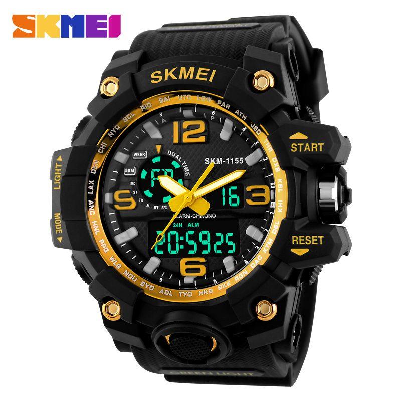 SKMEI Relogio Masculino Men Quartz Digital Watch 2 Time <font><b>Military</b></font> Army Sports Watches Waterproof Calendar Chronograph Wristwatch