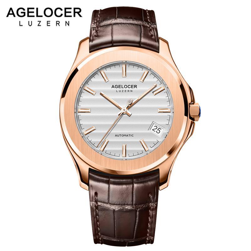 Luminous Switzerland Men Watch Automatic Mechanical 80 Hours Power Reserve Date Blue Stone Crown Gold Watches Male Wrist Watch