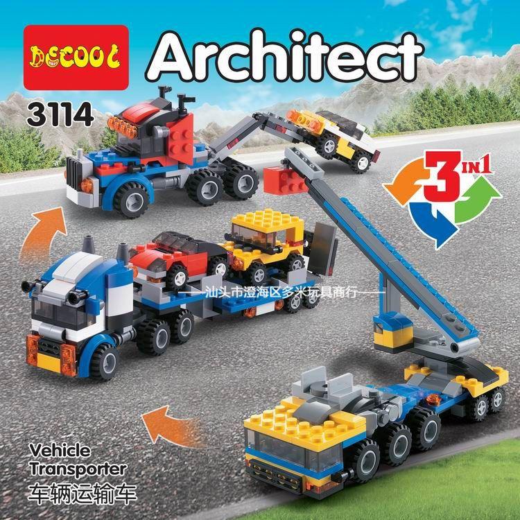 Décool 3114 ville créateur 3 en 1 véhicule transporteur grue blocs de construction enfants jouets compatibles Legoings