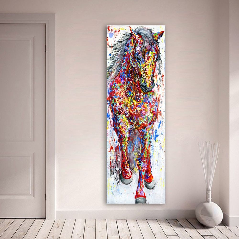 QKART Wall Art Painting Canvas Print Animal Picture Animal Prints Poster The Standing Horse For Living Room Home Decor No Frame