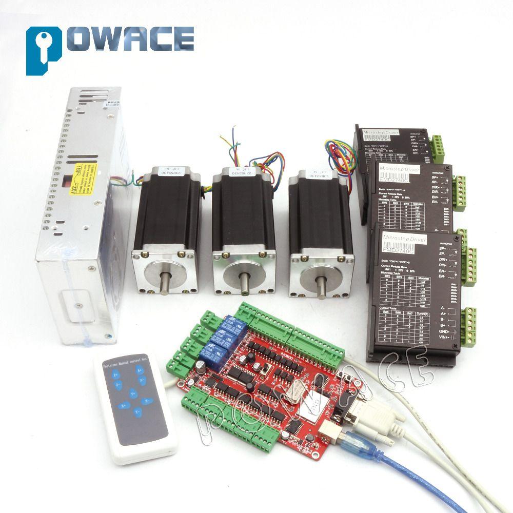 Von DE/freies MEHRWERTSTEUER lager 3 aixs USBCNC NEMA23 unzen-in, 112mm, 3A (Dual welle) schrittmotor & 2740C CONTROLLER CNC kit