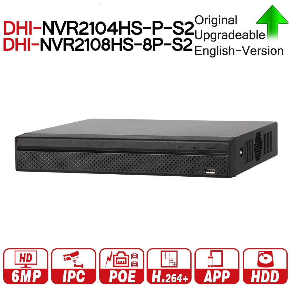 DH NVR2104HS-P-S2 NVR2108HS-8P-S2 4/8 CH POE NVR 1U PoE Network Video Recorder Full HD 6MP Record For IP Camera with dahua logo