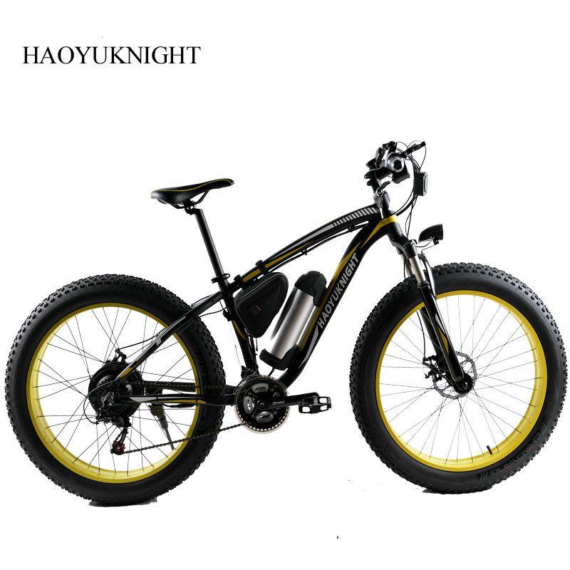 HAOYU KNIGHT Electric Bike Powerful Fat Tire Electric Mountain Bike 48V 10AH 500W Beach Cruiser 21 Speed Electric Snow Bicycle