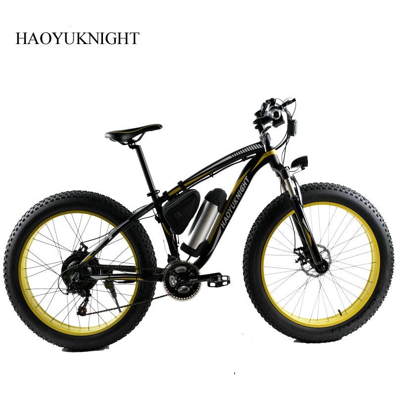 HAOYU KNIGHT Electric Bike Powerful Fat Tire Electric Mountain Bike 48V 10AH 500W Beach Cruiser 21 Speed Electric Snow Bicycle