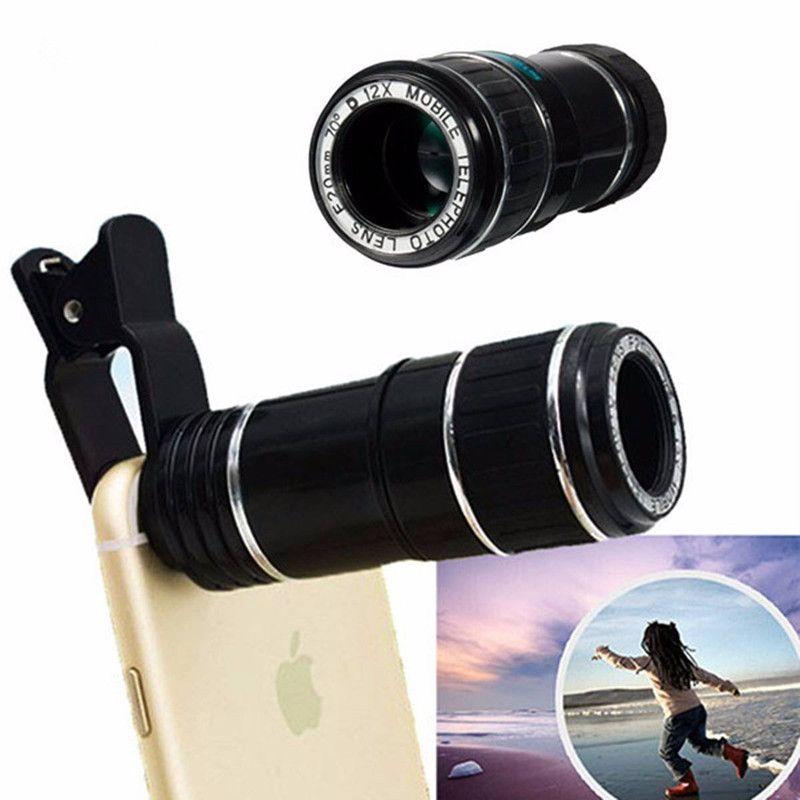 HD Téléphone Objectif pour Iphone 7 7 plus Samsung S8 S7 Huawei 12X Zoom Optique Téléobjectif Télescope Téléphone Mobile Caméra lentille V06