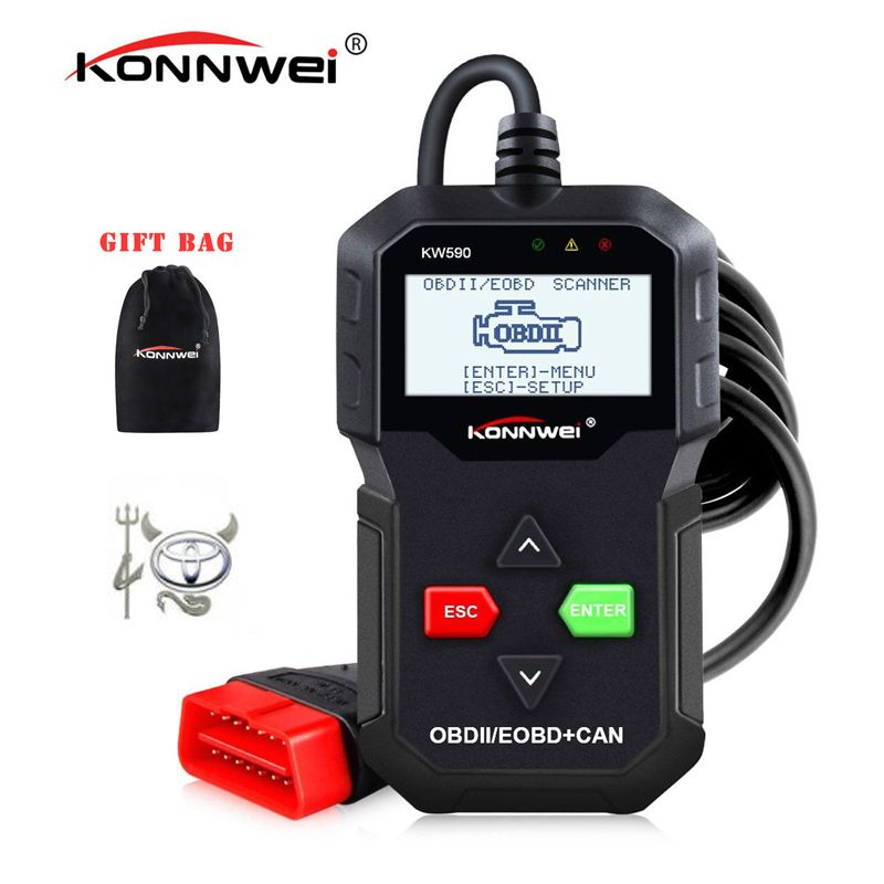 Best ODB OBD2 Scanner KONNWEI KW590 OBD2 Car Diagnostic Scanner Multi-languages OBD2 Autos scanner in Russian Better Than AD310