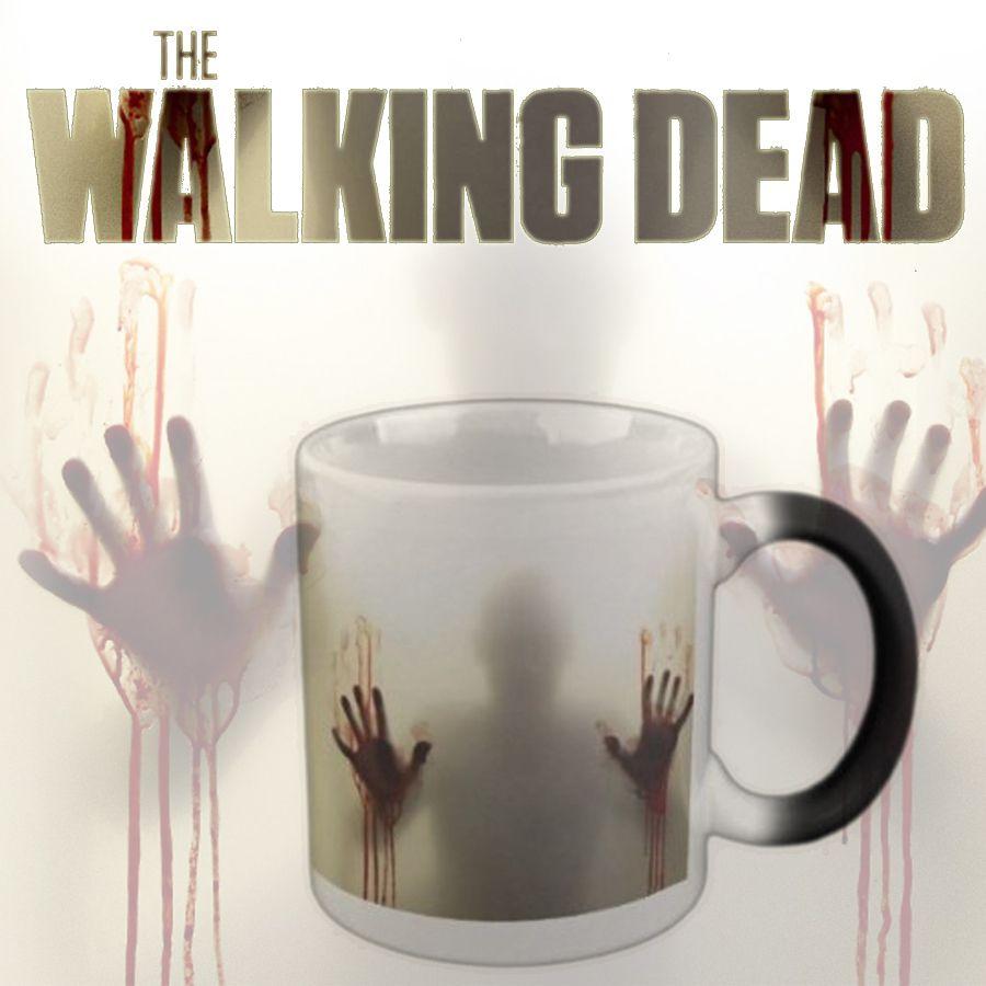 Livraison directe en céramique noire Zombie couleur changeante tasse à café sensible à la chaleur magique tasse à thé tasses noël Halloween cadeau 110Z