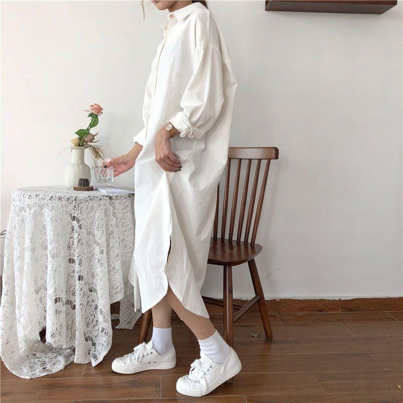 Vintage automne longue robe à manches longues chemise turn down col femme dame lâche chemise décontracté mode maxi robe coton bleu blanc