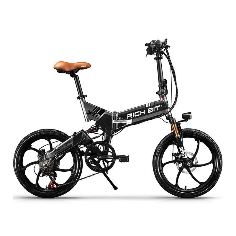 RichBit nouveau ebike 48 V 8Ah batterie cachée pliant vélo électrique 7 vitesses intégré jante vélo électrique vtt bicicleta eletrica