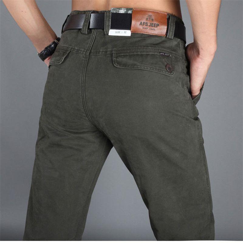 NIANJEEP осень Для мужчин Повседневные штаны для мужчин 100% хлопок Новый Мода 2017 прямые Военная Униформа бегунов армии хаки человек Мотобрюки 2006