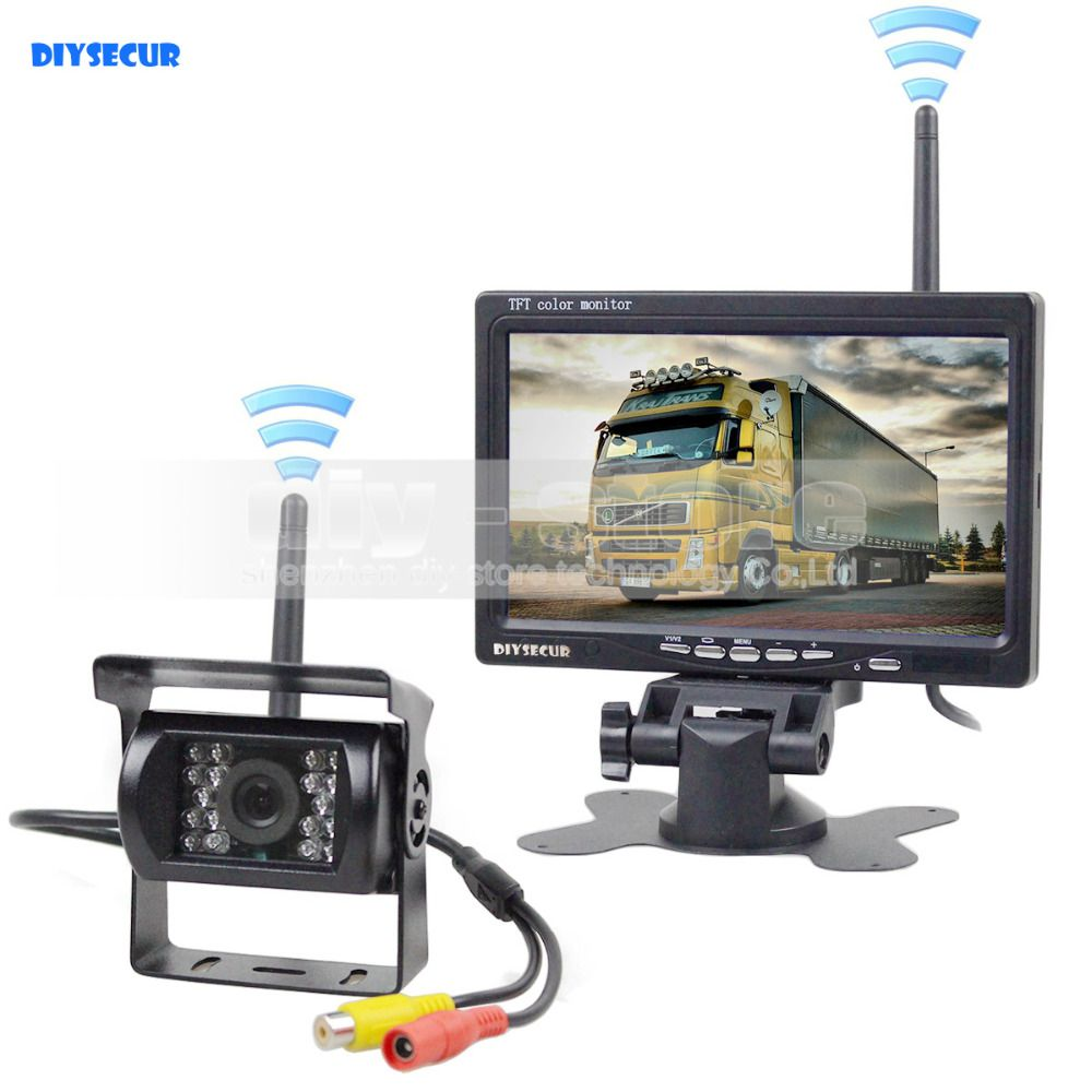 DIYSECUR Wireless Transmission 800 x 480 7inch Car Monitor IR CCD Rear View Backup Camera for Car Bus Truck Caravan Trailer RV