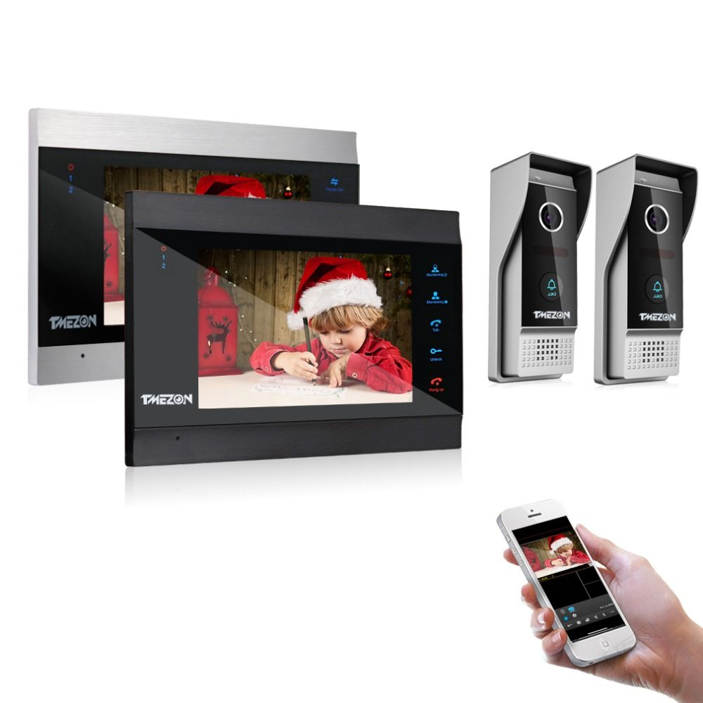 TMEZON 7 zoll Wireless/Wifi Smart IP Video Tür Sprechanlage mit 2 Nachtsicht Monitor + 2 regendicht Türklingel Kamera
