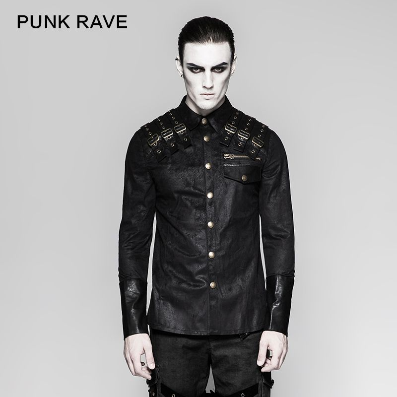Punk Rock Heavy Metal Steampunk Shoulder Leather Novelty Handsome Long Sleeve Men T-Shirt Y740