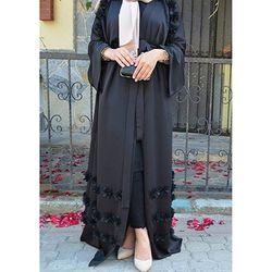 Élégant Adulte Musulman Abaya Arabe Turc Singapour Aardigan Appliques Jilbab Dubaï Vêtements Femmes Islamique Robe Robe Grande Taille