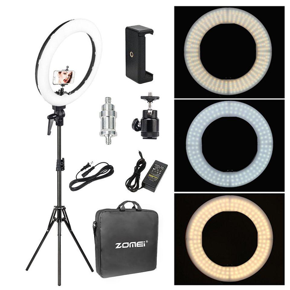 Zomei 18 ''Foto Dimmbare Beleuchtung Studio Video LED Ring Licht 3200-5600 K für Smart telefon Make-Up Live youtube porträt