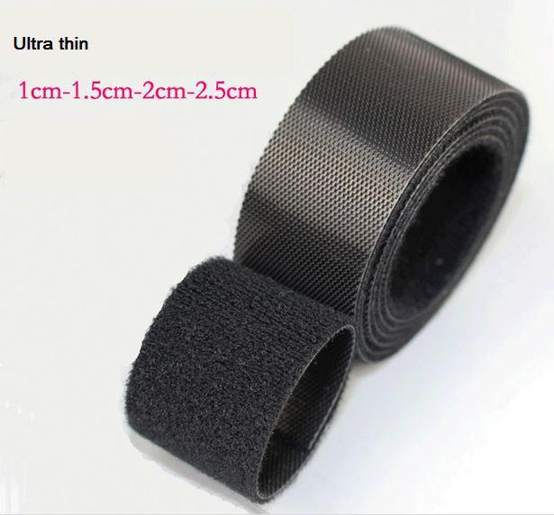 Bande mince noire de fixation de crochet et de boucle 2 cm * 5 m ou 2.5 cm * 5 mètres courroies de boucle de crochet bande mince injectée de crochet pour des serres-câble en nylon