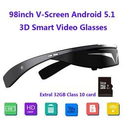 Upgraded version!!1080P 98inch V-Screen Android5.1 WiFi Touch-Button Track Ball Mini PC 3D Smart Video Glasses+32G TFCard