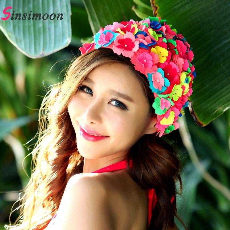 Nouveauté bonnet de bain fleur pour femme chapeau de natation pour cheveux longs fleurs Design casquettes Sexy Floral femmes chapeaux livraison gratuite