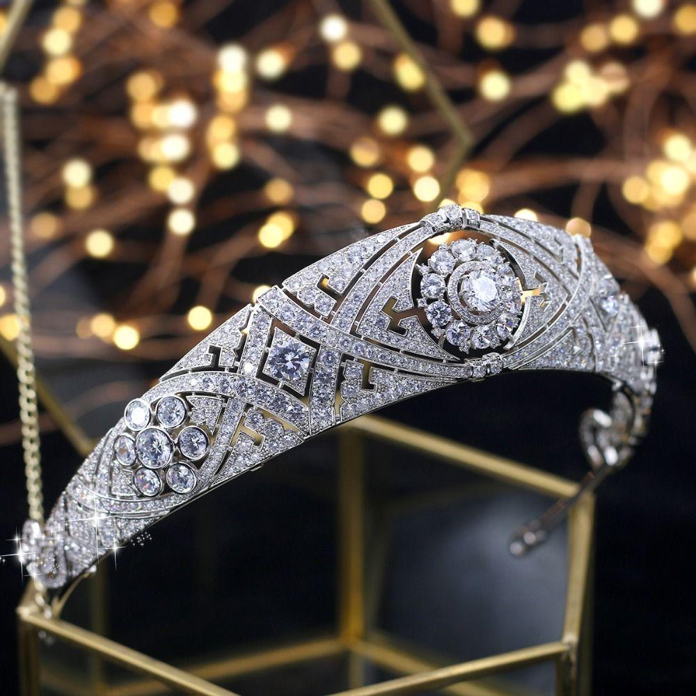 ASNORA Wunderschöne Crown Tiara de Noiva Meghan Markle Hochzeit Haar Zubehör Frauen Haar Schmuck Zirkon Braut Krone und Diademe