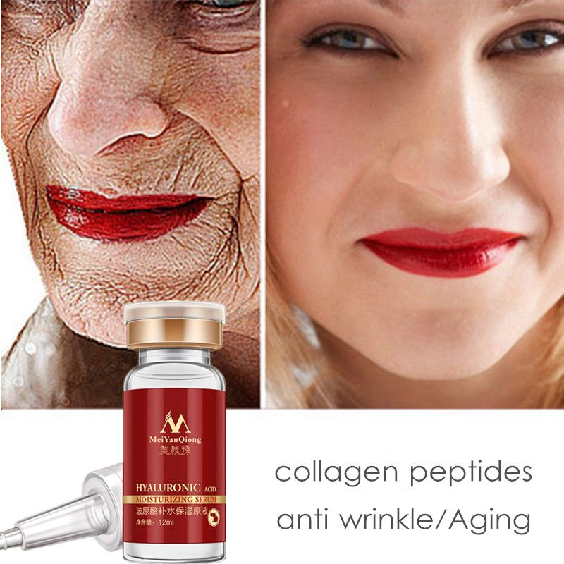 MeiYanQiong Hyaluronic Acid Face Serum Peptides Anti Wrinkle Anti Aging Moisturizing Serum Ageless Facial acido hialuronico