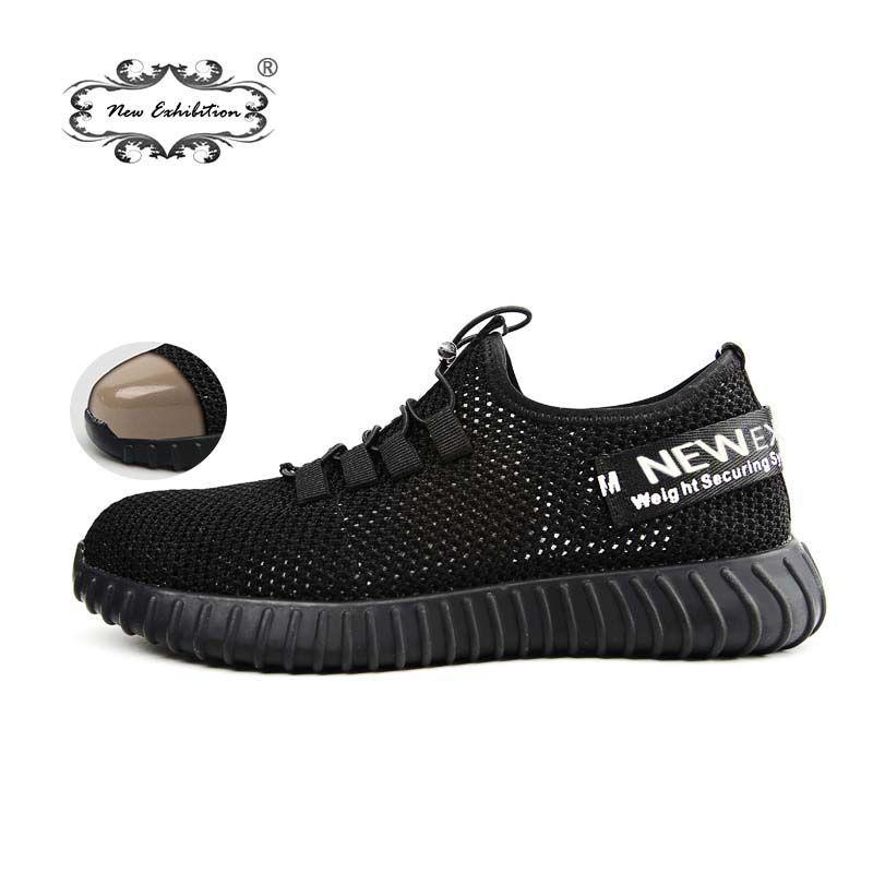 Nouvelle exposition chaussures de sécurité respirantes hommes léger été anti-fracassant piercing travail sandales baskets maille unique 35-46
