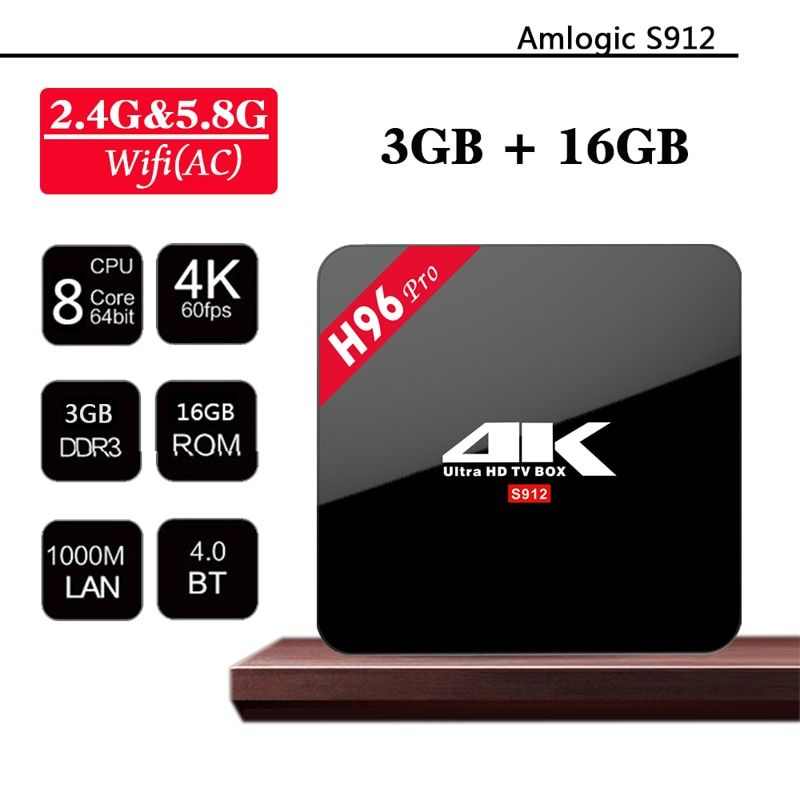 H96 Pro Android 7.1 Smart TV Box Amlogic S912 Octa Core 3G DDR3 16G H.265 Media Player BT 2.4/5GHZ WIFI better than Mag 254 Htv