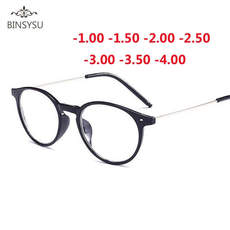Finished Myopia Glasses Women Oval Steel Wire Legs Frame Clear Lens Sighted Prescription Glasses -1 -1.5 -2 -2.5 -3 -3.5 -4