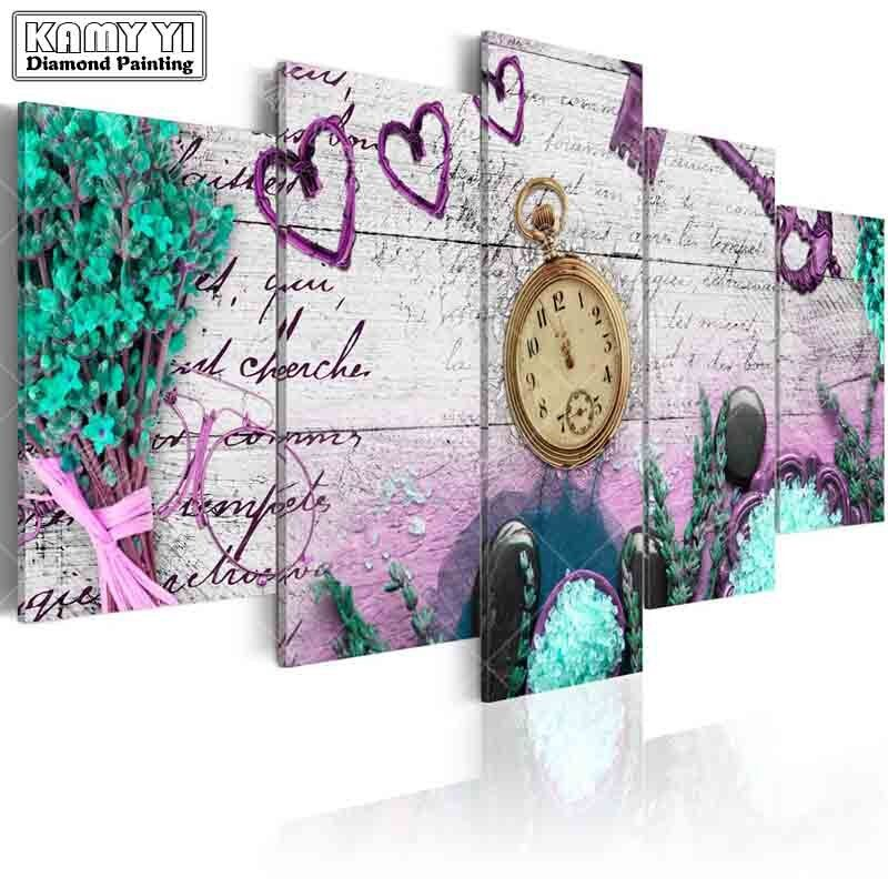 full square drill Diamond embroidery home Flowers clock 5D DIY diamond painting Cross Stitch Multi-picture home decoration