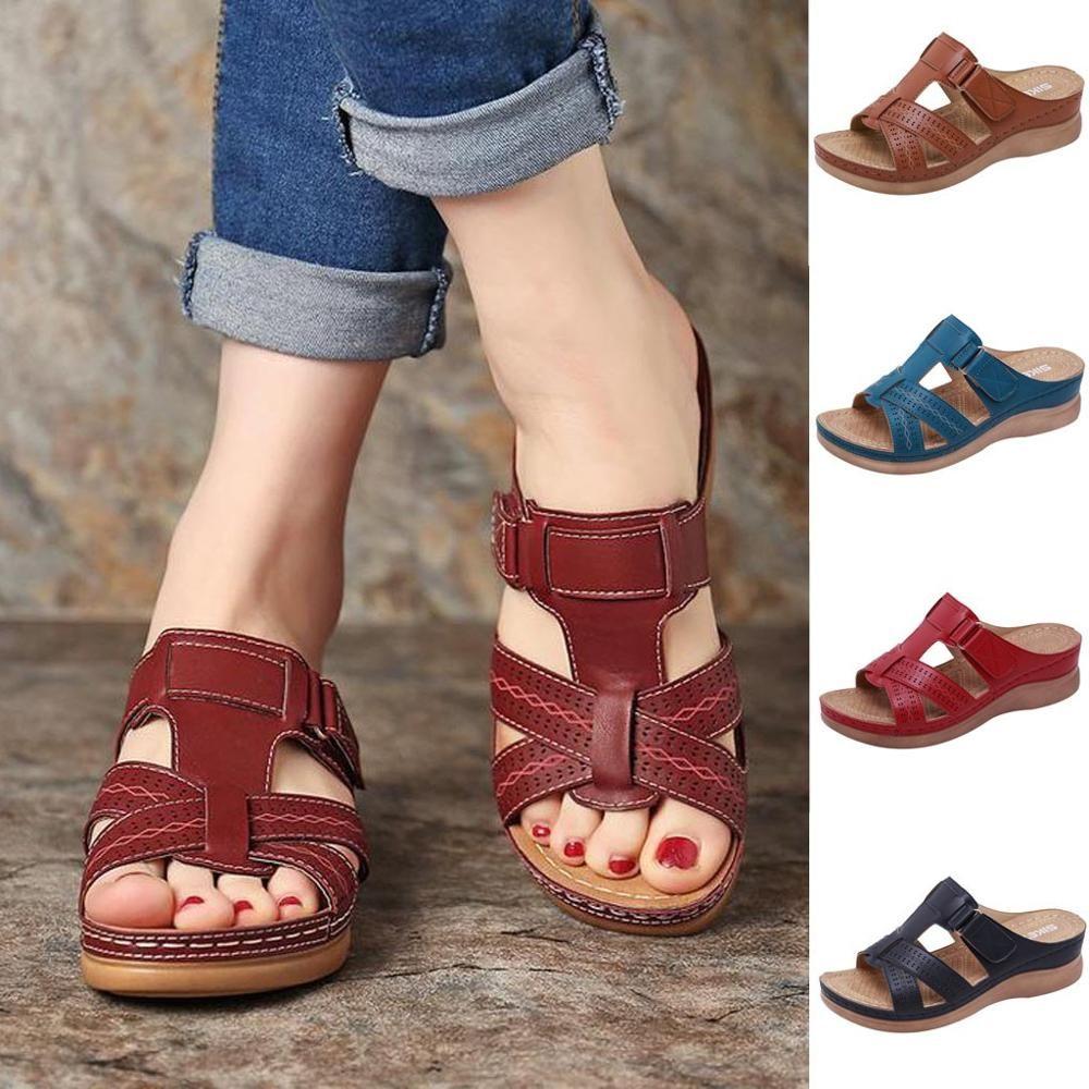 Women Summer Open Toe Hook Loop Comfy Sandals Casual Wedges Non-Slip Slippers