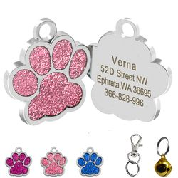 Paw Shape Dog ID Tag Engraved Dog ID Name Tags Pet Collar Pendant Free Engrave Name and Phone Number