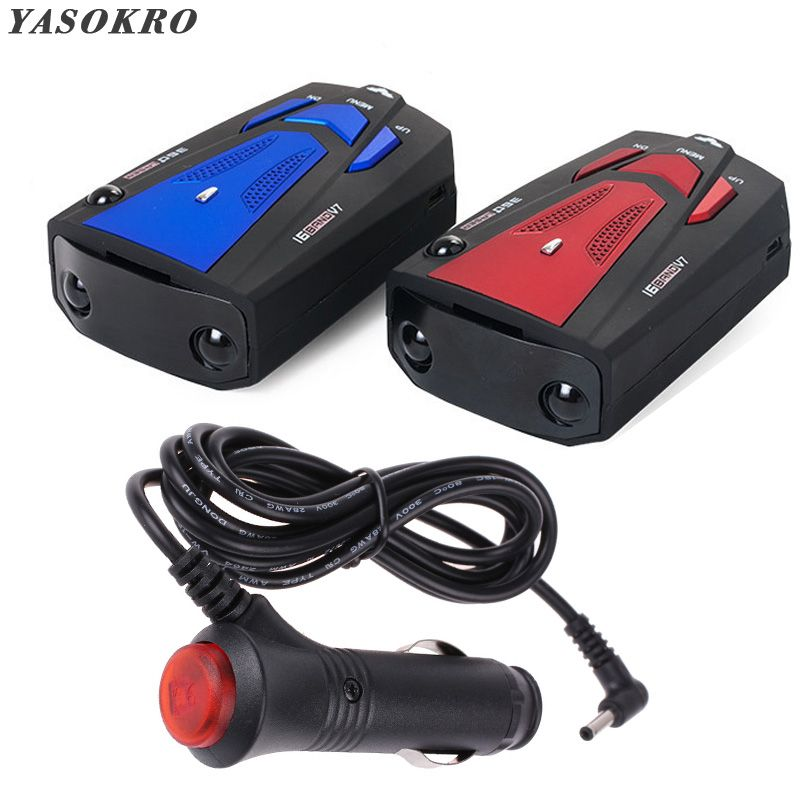 YASOKRO Car Vehicle Radar Detector 360 Degree Anti Car Detector V7 Speed Voice Alert Warning 16 Band Speed Control Detector