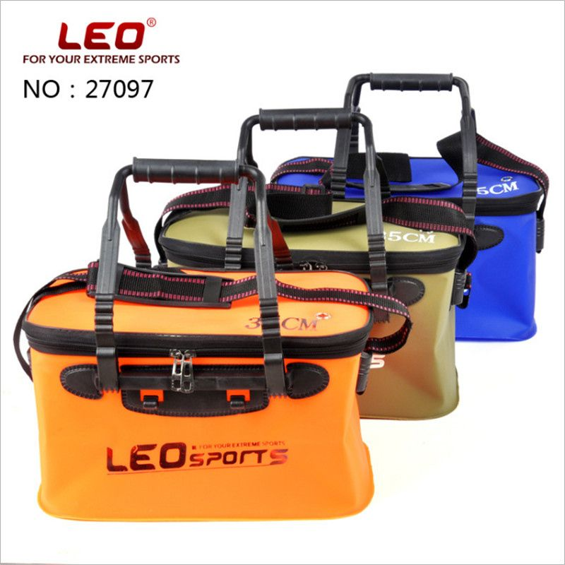 Leo 1 stück S/L Größe EVA Faltbare Wassereimer Bewegliche Faltbare Angeln Werkzeuge Fisch Behälter Mit Reißverschluss Deckel atem Loch Angelgerät