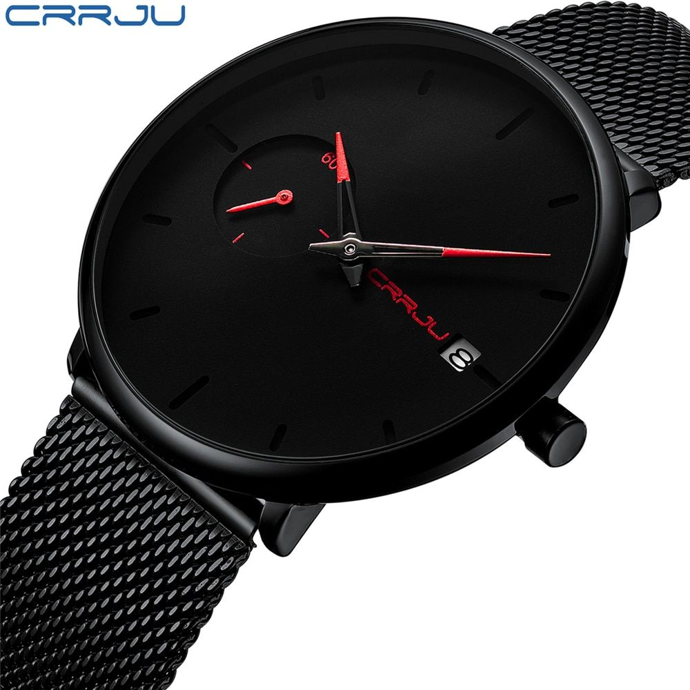 Mens Watches Crrju Top Brand Luxury Waterproof Wrist Watches Ultra Thin Date Simple Casual Quartz Watch For Men Sports Clock