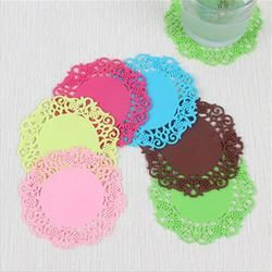 2018  Lace Flower Doilies Silicone Coaster Tea Cup Mats Pad Insulation Placemat LAU JA16