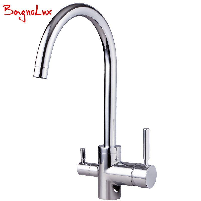 Bagnolux Hohe Qualität Aus Massivem Messing Granit Küche Wasserhahn Osmose Silber Chrome Tri Fluss Waschbecken Mischer Chrome 3 Way Wasserfilter Tap